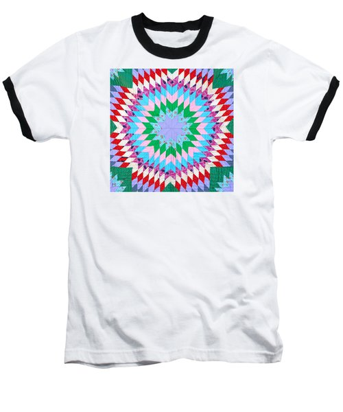Vibrant Quilt Baseball T-Shirt by Art Block Collections