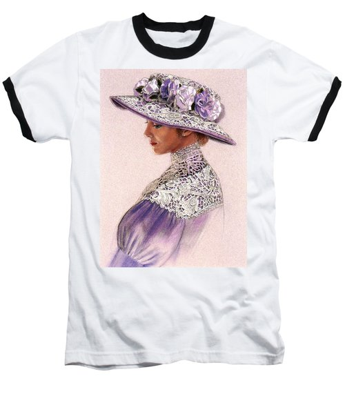 Victorian Lady In Lavender Lace Baseball T-Shirt