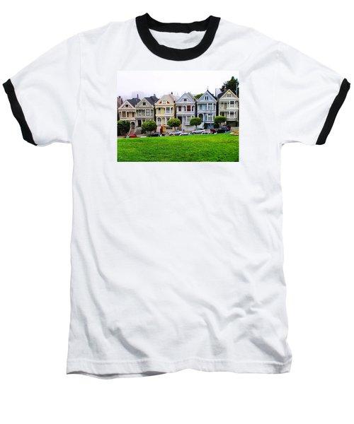 San Francisco Architecture Baseball T-Shirt by Oleg Zavarzin