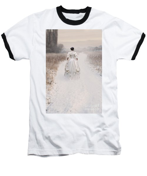 Victorian Woman Walking Through A Winter Meadow Baseball T-Shirt by Lee Avison