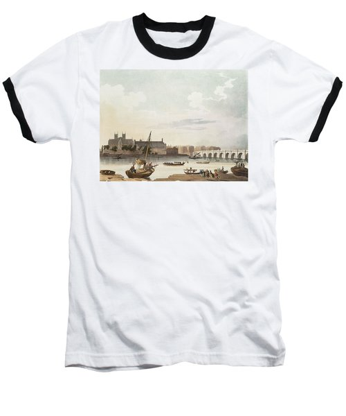 View Of Westminster And The Bridge Wc On Paper Baseball T-Shirt