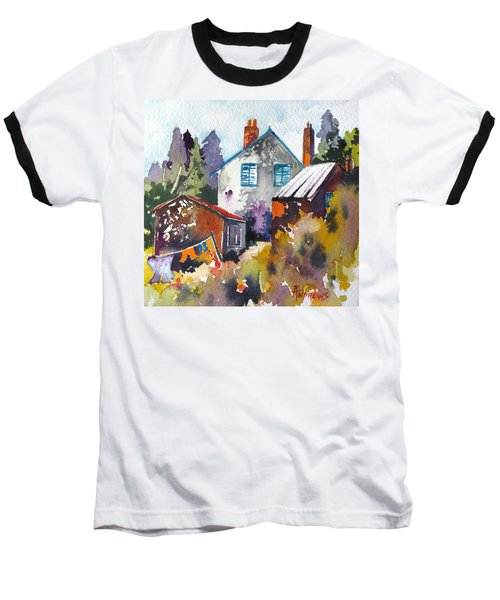Baseball T-Shirt featuring the painting Village Life 1 by Rae Andrews