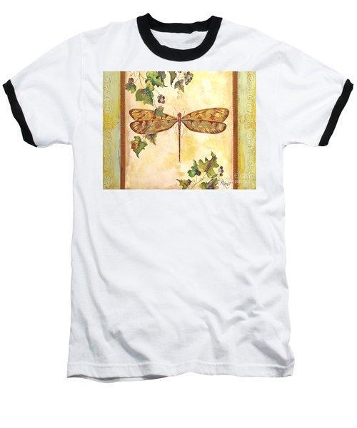 Vineyard Dragonfly Baseball T-Shirt by Jean Plout