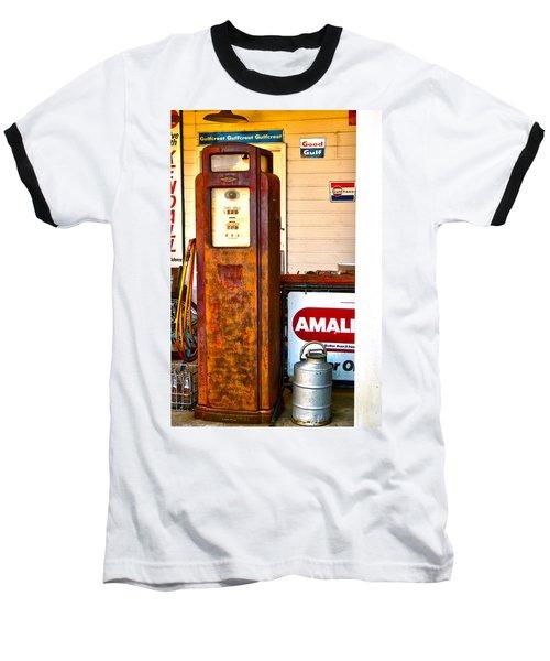 Baseball T-Shirt featuring the photograph Vintage Bassett Gas Pump   by Lesa Fine