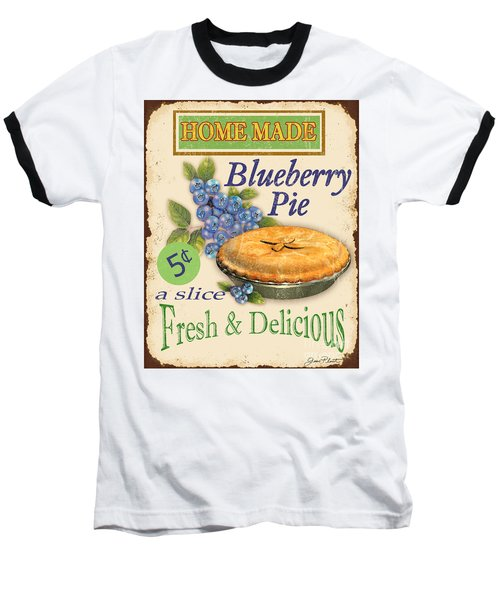 Vintage Blueberry Pie Sign Baseball T-Shirt by Jean Plout