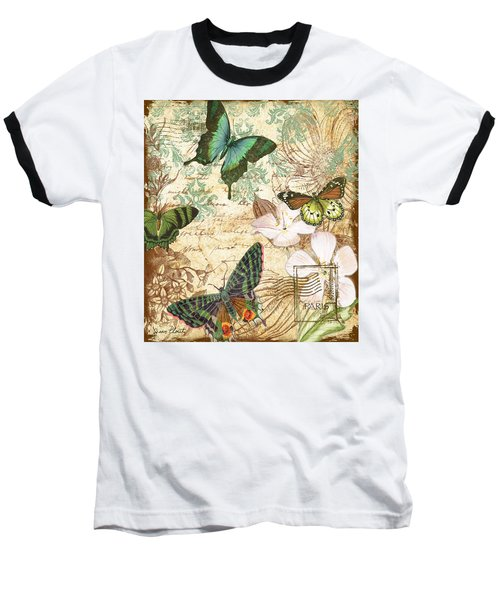 Vintage Butterfly Kisses  Baseball T-Shirt by Jean Plout
