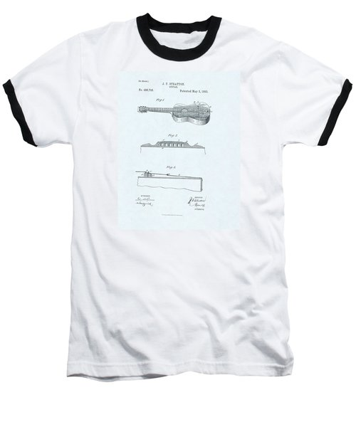 Guitar Patent Drawing On Blue Background Baseball T-Shirt