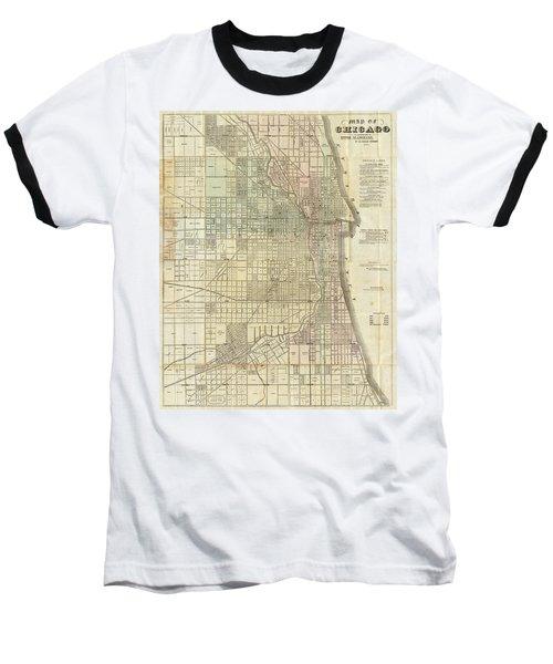 Vintage Map Of Chicago - 1857 Baseball T-Shirt