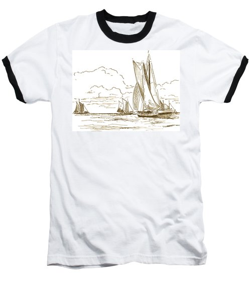 Vintage Oyster Schooners  Baseball T-Shirt