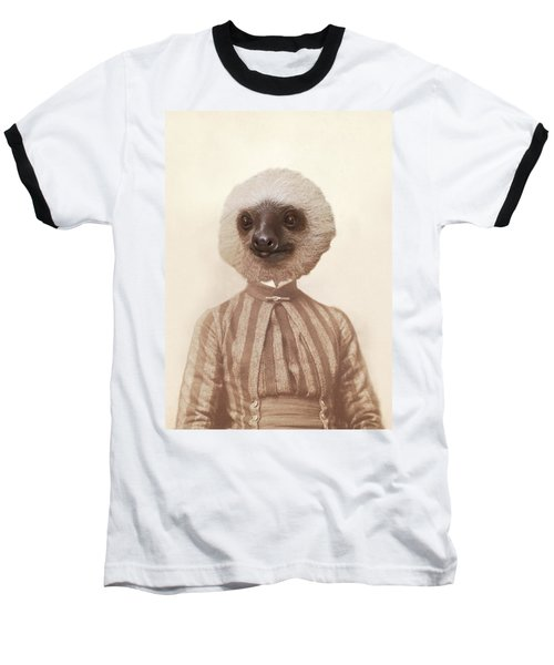 Vintage Sloth Girl Portrait Baseball T-Shirt by Brooke T Ryan