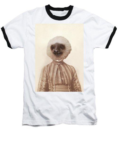Vintage Sloth Girl Portrait Baseball T-Shirt
