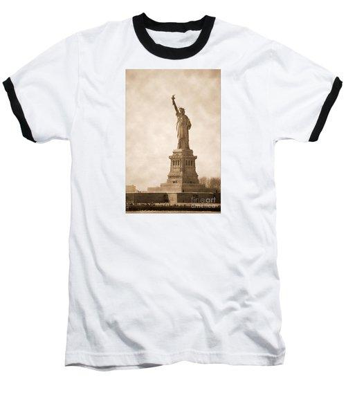 Vintage Statue Of Liberty Baseball T-Shirt by RicardMN Photography