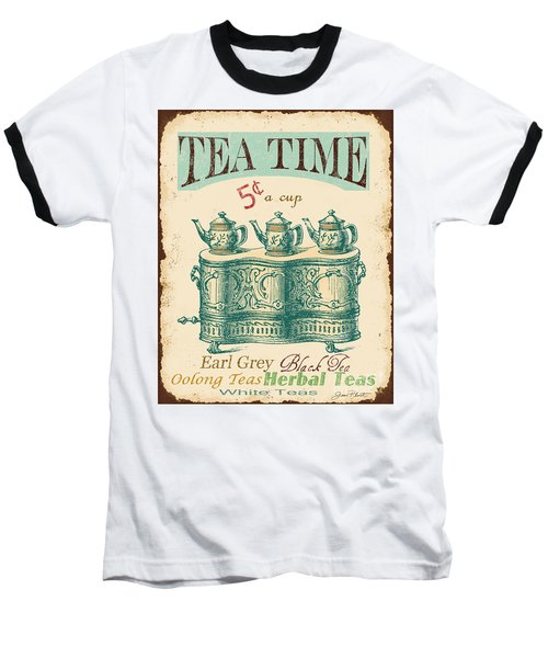 Vintage Tea Time Sign Baseball T-Shirt by Jean Plout