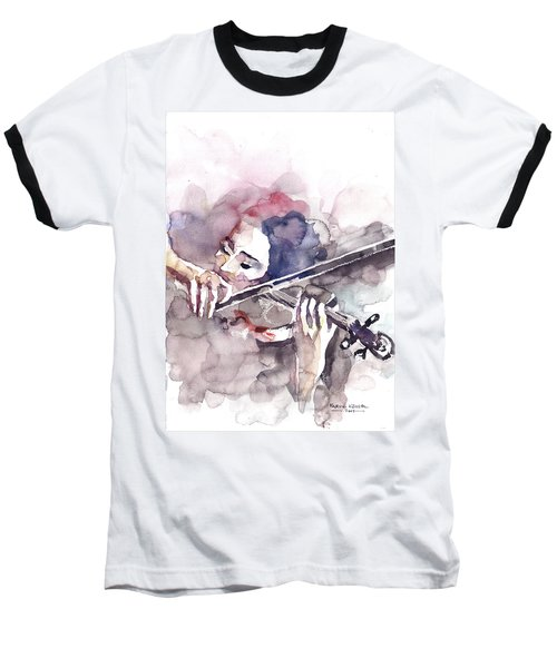 Baseball T-Shirt featuring the painting Violin Prelude by Faruk Koksal