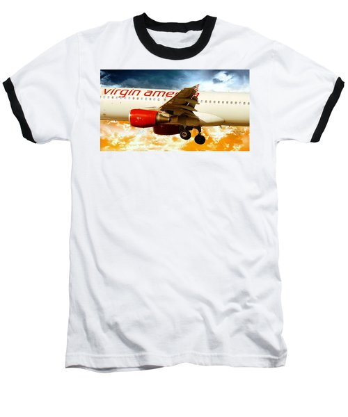 Virgin America A320 Baseball T-Shirt by Aaron Berg