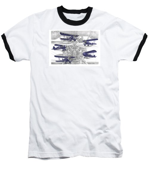 Wacos - Vintage Biplane Aviation Art With Color Baseball T-Shirt