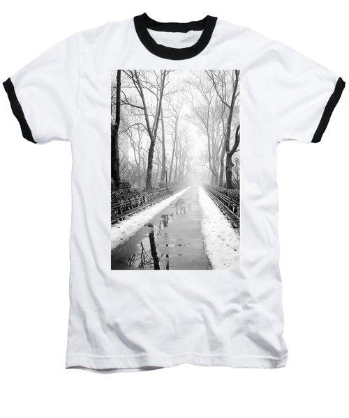 Walkway Snow And Fog Nyc Baseball T-Shirt