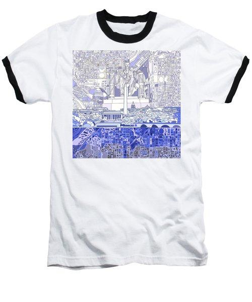Washington Dc Skyline Abstract 3 Baseball T-Shirt