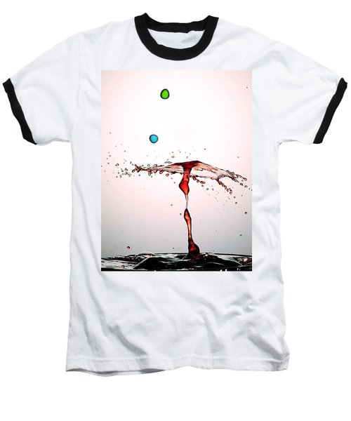 Water Droplets Collision Liquid Art 11 Baseball T-Shirt by Paul Ge