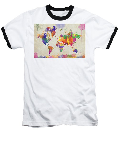 Watercolor Impression World Map Baseball T-Shirt