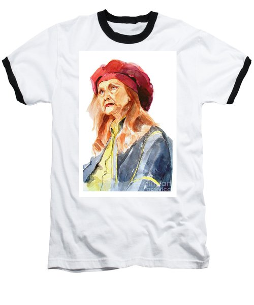 Watercolor Portrait Of An Old Lady Baseball T-Shirt
