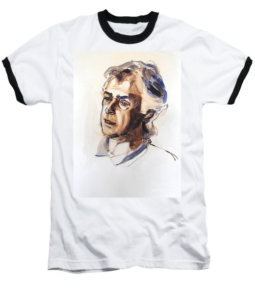 Baseball T-Shirt featuring the painting Watercolor Portrait Sketch Of A Man In Monochrome by Greta Corens