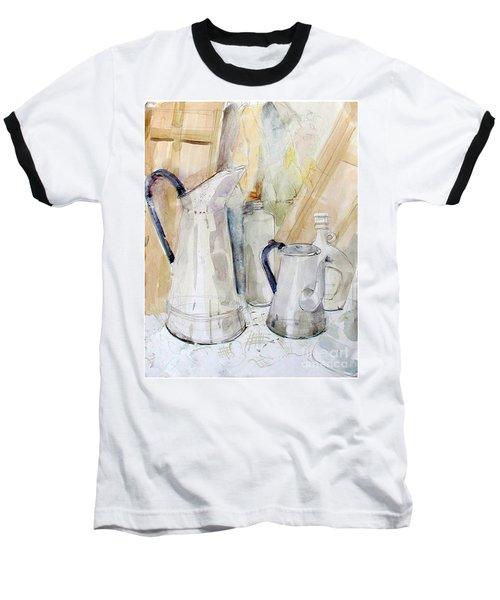 Watercolor Still Life Of White Cans Baseball T-Shirt
