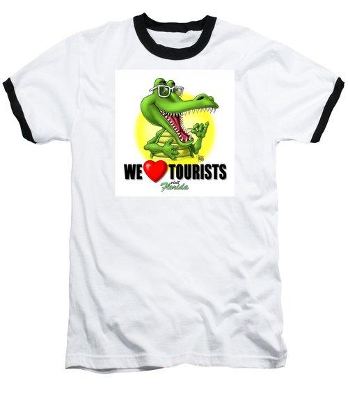 We Love Tourists Gator Baseball T-Shirt by Scott Ross