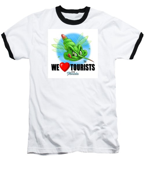 Baseball T-Shirt featuring the digital art We Love Tourists Mosquito by Scott Ross