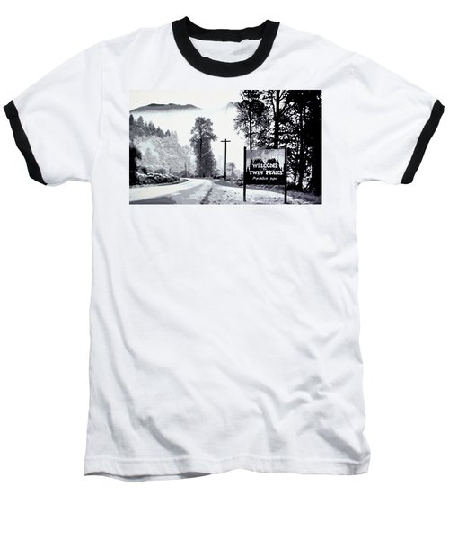 Baseball T-Shirt featuring the painting Welcome To Twin Peaks by Luis Ludzska