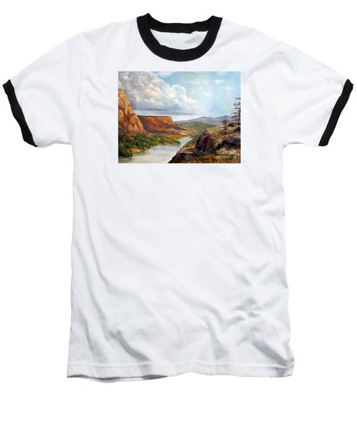 Western River Canyon Baseball T-Shirt by Lee Piper