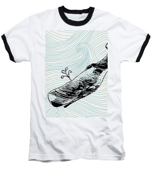 Whale On Wave Paper Baseball T-Shirt
