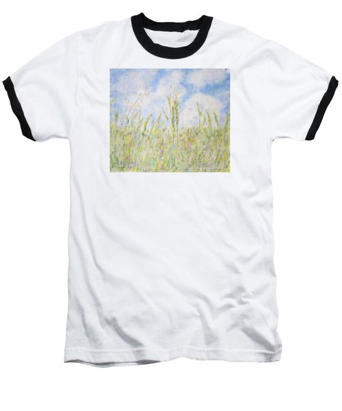 Wheat Field And Wildflowers Baseball T-Shirt