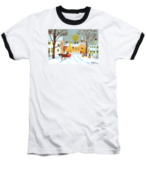 Baseball T-Shirt featuring the painting White Christmas by Magdalena Frohnsdorff
