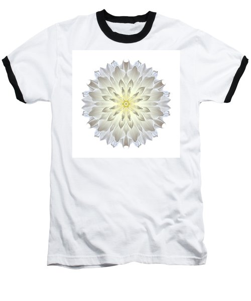 Giant White Dahlia I Flower Mandala White Baseball T-Shirt by David J Bookbinder