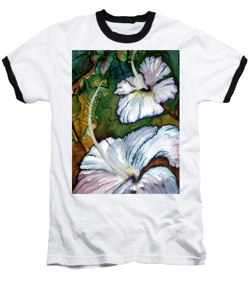 Baseball T-Shirt featuring the painting White Hibiscus by Lil Taylor