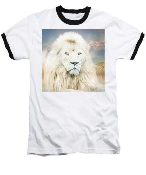 Baseball T-Shirt featuring the mixed media White Lion - Spirit Of Goodness by Carol Cavalaris
