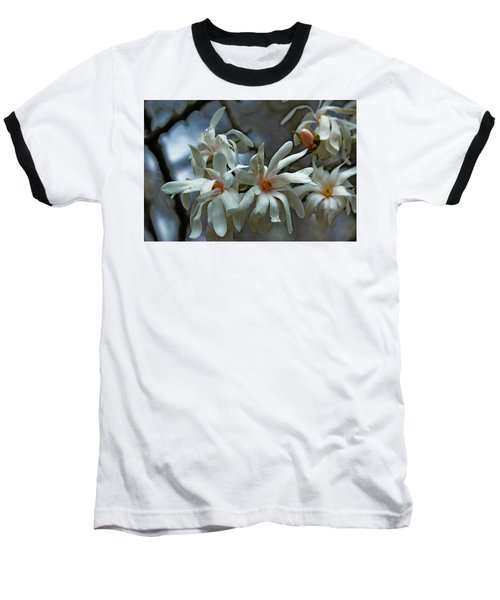 White Magnolia Baseball T-Shirt