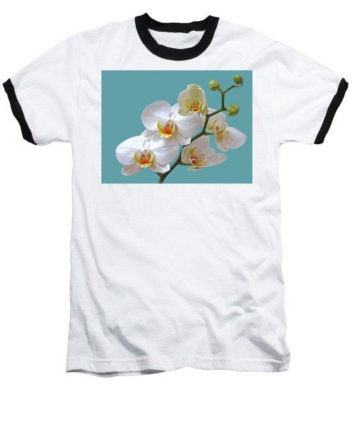 White Orchids On Ocean Blue Baseball T-Shirt