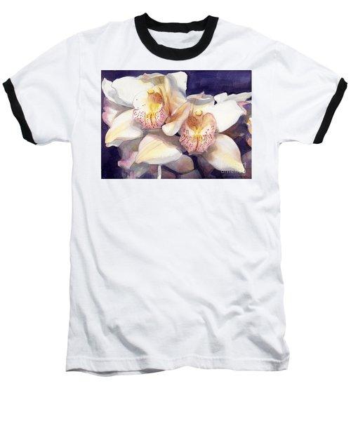 White Orchids Watercolor Baseball T-Shirt by Greta Corens