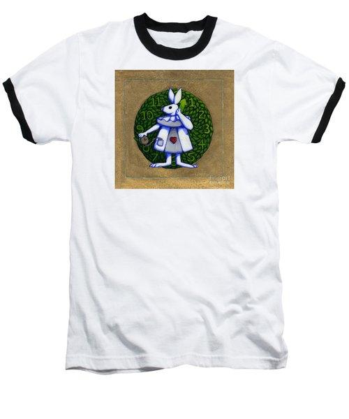 White Rabbit Wonderland Baseball T-Shirt by Donna Huntriss