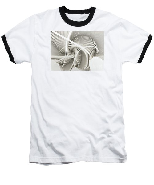 White Ribbons Spiral Baseball T-Shirt by Karin Kuhlmann