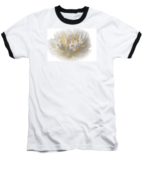 White Peony With A Dash Of Yellow Baseball T-Shirt by Sherman Perry