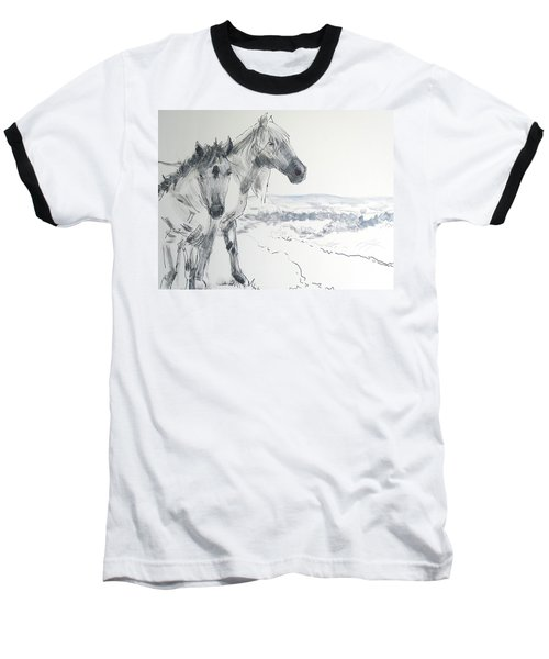 Wild Horses Drawing Baseball T-Shirt