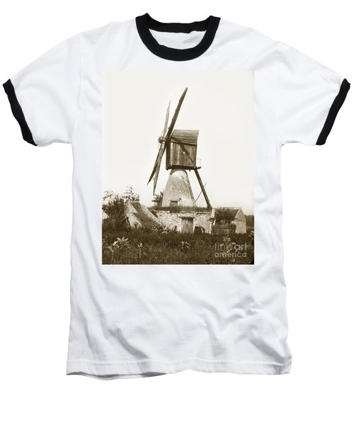 Baseball T-Shirt featuring the photograph Wind Mill In France 1900 Historical Photo by California Views Mr Pat Hathaway Archives