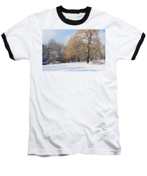Winter Along The River Baseball T-Shirt by Nina Silver