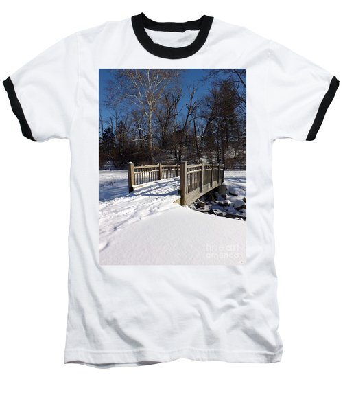 Winter At Creekside Baseball T-Shirt by Sara  Raber