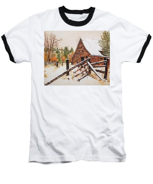 Winter - Barn - Snow In Nevada Baseball T-Shirt by Jan Dappen