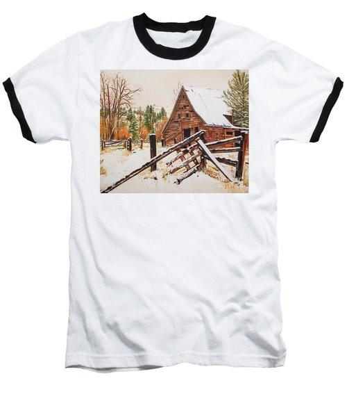 Winter - Barn - Snow In Nevada Baseball T-Shirt