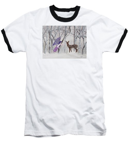 Baseball T-Shirt featuring the painting Winter Magic by Cheryl Bailey
